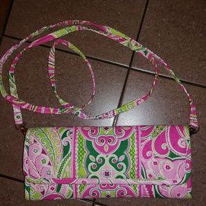 Vera Bradley Pink Pinwheel Crossbody Clutch